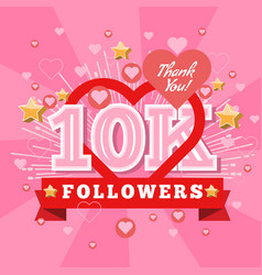 10k followers and thank you banner background with vector image