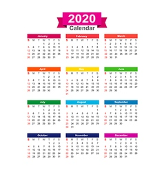 2020 Year calendar isolated on white background vector