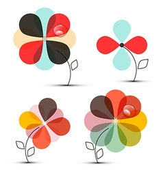 Abstract flowers set vector