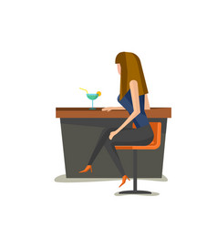 alone young woman sits on bar chair vector image