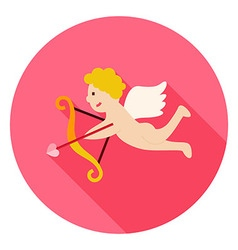 Amour Cupid Boy with Bow and Love Arrow Circle vector
