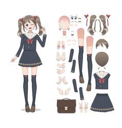 Anime manga schoolgirl in a skirt vector