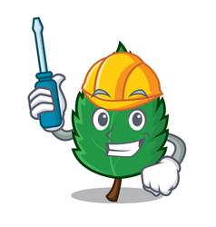 Automotive mint leaves mascot cartoon vector