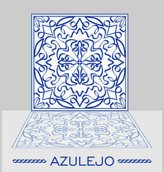 azulejo original portuguese ceramic tile with vector image