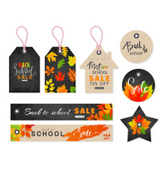 back to school sale tags set with autumn leaves vector image