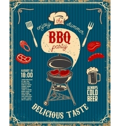 BBQ party vintage flyer on grunge background vector image
