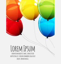 Birthday card template with group of colour glossy vector