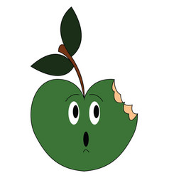 Bitten green apple vector