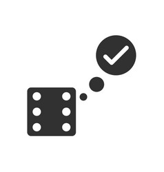 Black icon on white background dice and check mark vector