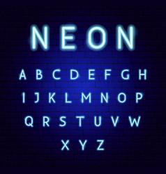 blue neon alphabet vector image