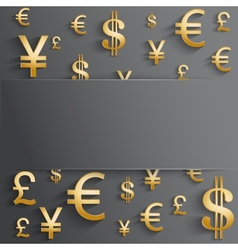 Business background with various gold money symbol vector image