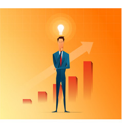 businessman thinking and getting ideas to success vector image