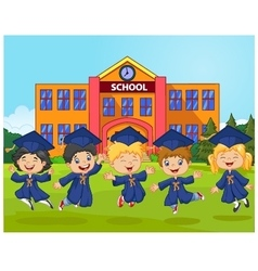 Cartoon little children Graduation Celebration on vector