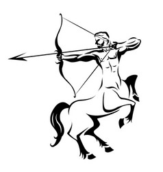 centaur silhouette ancient mythology vector image