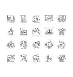 chambers commerce line icons signs set vector image