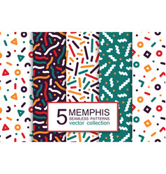 Collection colorful seamless patterns - memphis vector