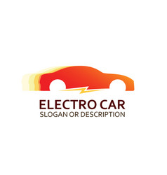 Colorful logo of electro car in red colors vector