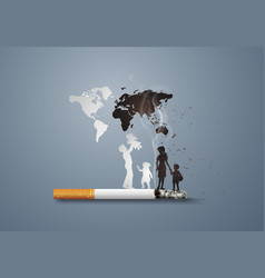 Concept no smoking day world with familypaper art vector