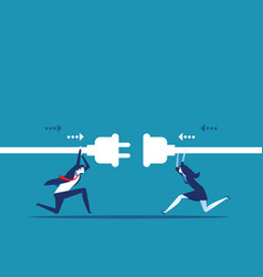 Connection business people hold plug and outlet vector