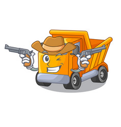 Cowboy cartoon truck on the table learn vector