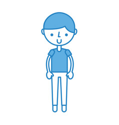 Cute blue boy cartoon vector