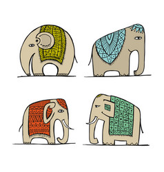 cute elephant sketch for your design vector image