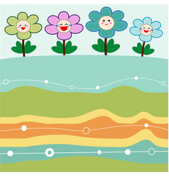 cute flowers with retro background vector image