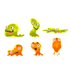 cute jelly monsters set funny slimy cartoon vector image