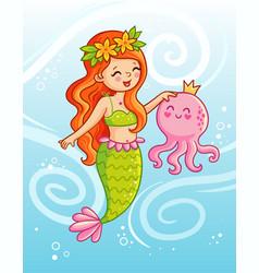 cute mermaid holds an octopus underwater in her vector image