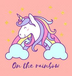 cute unicorn cartoon character design vector image