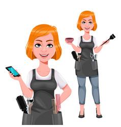 Cute woman barber female hairstylist vector