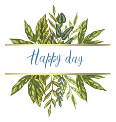 Decorative card with detailed green leaves vector