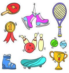 Doodle sport equipment style various collection vector