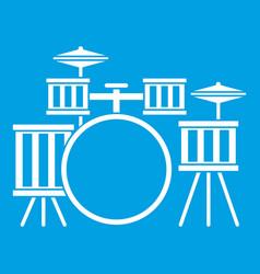 Drum kit icon white vector