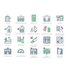 Elevator line icons included vector