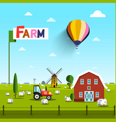 farm with cows tractor windmill and barn rural vector image