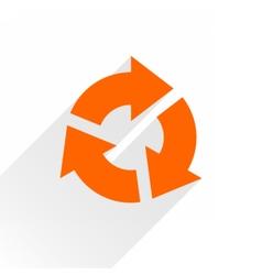 Flat orange arrow icon reset repeat sign on white vector