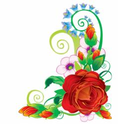 floral rose border vector image