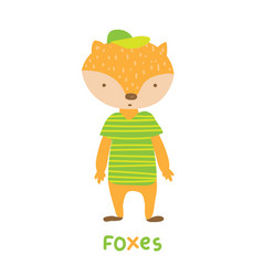 foxes in striped green t-shirt art vector image