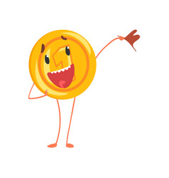 Friendly one cent character standing with flag in vector