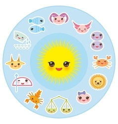 Funny Kawaii Sun zodiac sign astrological stiker vector image