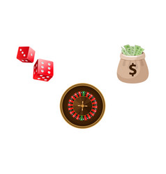 Gambling symbols - roulette dices and money bag vector
