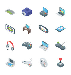 Gaming accessories icons vector