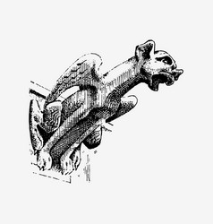Gargoyle chimera of notre-dame de paris engraved vector