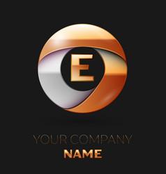 golden letter e logo in the golden-silver circle vector image