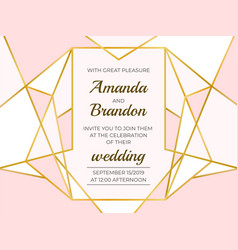 golden polygonal frame elegant wedding invitation vector image