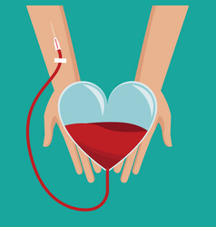 hand holding heart glass blood donor vector image