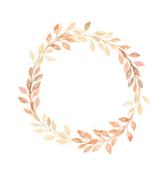 Hand painted pastel watercolor wreath plant vector