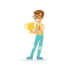 Happy school boy holding winner cup kid vector