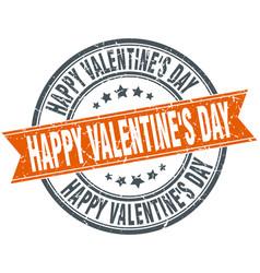 Happy valentines day round grunge ribbon stamp vector